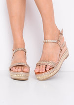 Metallic Studded Espadrille Wedge Heel Sandals Gold