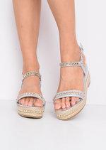 Metallic Studded Espadrille Wedge Heel Sandals Silver
