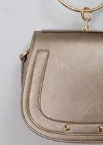 Metallic Studded Bracelet Handle Cross Body Bag Bronze Gold