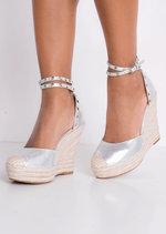 Metallic Studded Strap Espadrille Wedge Sandals Silver