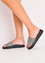 Metallic Studded Strap Sliders Black