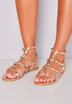 Metallic Studded Strappy Gladiator Sandals Flats Gold