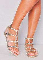 Metallic Studded Strappy Gladiator Sandals Flats Silver