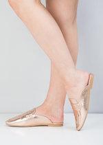 Metallic Tassel Slip On Backless Loafers Rose Gold