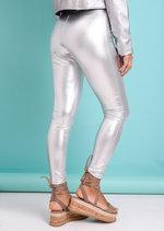 Metallic Wet Look Shine Leggings Trousers Silver
