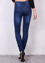 Mid Rise Superstretch Distressed Front Detail Skinny Denim Jeans Blue