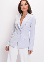 Military Style Tailored Button Blazer Jacket Light Grey