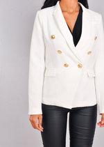Military Style Tailored Button Blazer Jacket White
