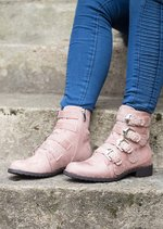 Multi Buckles Pin Studded Ankle Boot Pink