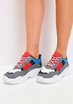 Multi Colour Lace Up Chunky Trainers Blue