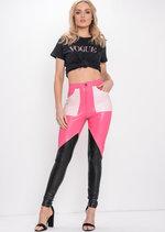 Multi Colour PU Trousers Pink