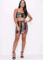 Multi Colour Sequin Stripe Crop Top Multi