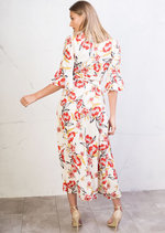 Multi Floral Wrap Over Bell Sleeve Maxi Dress White