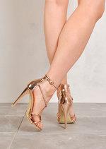 Multi Strap Stiletto High Heels Rose Gold Chrome