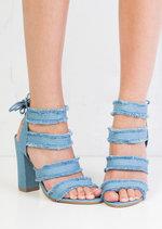 Multi Straps Distressed Denim Block Heel Sandals Light Blue