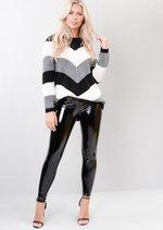 Chevron Stripe Knitted Sweater Jumper Black