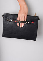 Multi Studded Clutch Bag Black