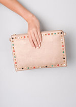 Multi Studded Clutch Bag Rose Gold