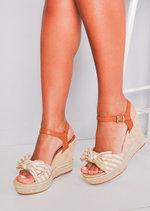 Nautical Bow Stripe Braided Cork Espadrille Wedge Sandals Beige