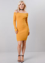 Off The Shoulder Knitted Bodycon Dress Mustard Yellow