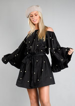 Off The Shoulder Pearl Embellished Wide Sleeve Dress Black