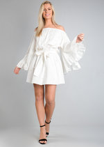 Off The Shoulder Pearl Embellished Wide Sleeve Dress White