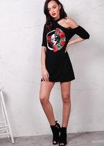One Shoulder Red Rose and Skull T shirt Dress Black