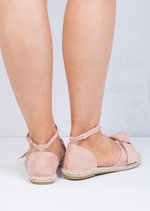 Open Toe Bow Suede Espadrille Sandals Pink