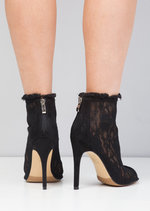 Open Toe Lace Heeled Ankle Boot Black