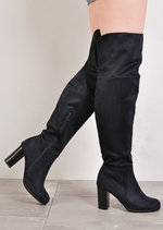 Over The Knee Block Heel Open Back Suede Heeled Boots Navy Blue