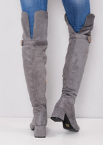 Over the Knee Buckle Block Heel Boots Grey