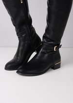 Over The Knee Buckle Strap PU Boots Black