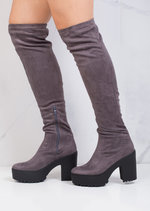 Over The Knee Cleated Sole Faux Suede Platform Boots Grey