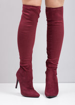 Over The Knee High Long Faux Suede Stiletto Heeled Boots Burgundy