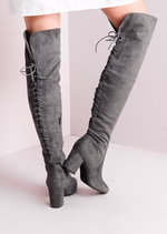 Mid Chunky Heel Over the Knee Lace Up Long Boots Grey