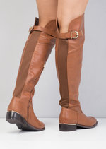 Faux Leather Knee High Long Riding Style Boots Brown