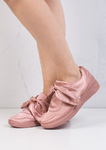 Oversized Bow Tie Satin Trainers Pink