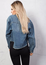 Oversized Floral Embroidered Boyfriend Crop Short Denim Jacket Blue