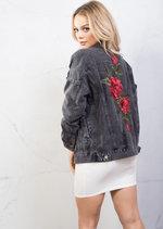 Oversized Floral Embroidered Ripped Boyfriend Denim Jacket Black