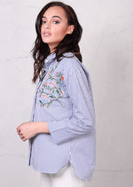 Oversized Floral Embroidered Shirt Stripes Blue