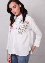 Oversized Floral Embroidered Shirt White
