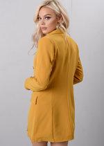 Oversized Longline Military Tailored Blazer Dress Mustard Yellow