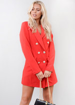 Oversized Longline Military Tailored Blazer Dress Burgundy Red