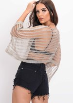 Oversized Metallic Knit Striped Top Silver