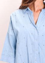 Oversized Stud Denim Shirt Light Blue