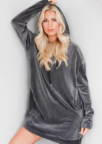 Oversized Velvet Hooded Jumper Dress Grey