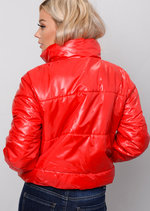 Padded Crop Puffer Jacket Red