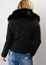 Padded Faux Fur Trim Collar Jacket Coat Black
