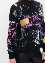 Paint Splatter Distressed Jumper Black