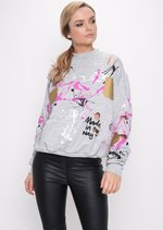 Paint Splatter Distressed Jumper Grey